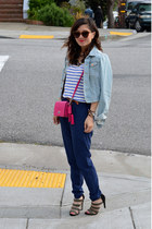 stripe Forever 21 t-shirt - denim H&M jacket - coach purse - Forever 21 pants
