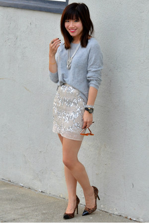 beaded H&amp;M skirt - knit H&amp;M sweater - leopard print Loft heels