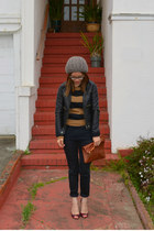thrifted jacket - f21 hat - H&M sweater