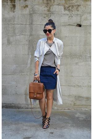 trench H&M jacket - willis coach bag - scallop hem Forever 21 skirt