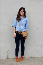 H&M Paris bag - DV x Dolce Vita shoes - Paige jeans - chambray H&M Kids shirt