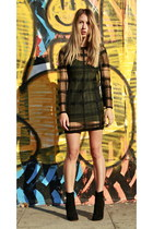 plaid Alexander Wang dress - Celine boots