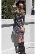 Isabel Marant boots - Isabel Marant dress - oxblood Comptoir des Cotonniers hat