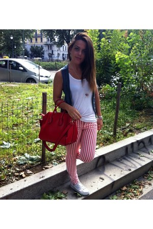 red Zara jeans - red OASAP bag