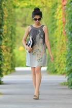 heather gray dress - black Rebecca Minkoff bag - black Chanel sunglasses
