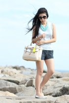 turquoise blue necklace - ivory Reed Krakoff bag - navy Forever 21 shorts