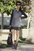black OASAP dress - charcoal gray Mesecca boots - black Kooba bag
