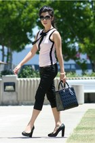 black dior bag - black Chanel sunglasses - bubble gum INC top - black INC pants