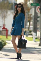 black Michael Kors boots - blue Zara dress - black 31 Phillip Lim bag