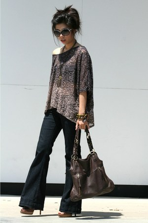 navy See Thru Soul pants - dark brown adrienne vittadini bag