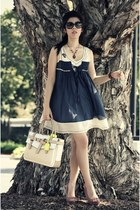 off white Reed Krakoff bag - navy dress - black Chanel sunglasses