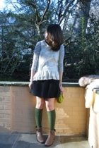 yellow ruffle top Marc Jacobs top - gray stripe top vince top - brown boots