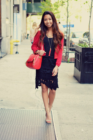 red Zara sweater - black lace sammydress skirt - beige Jeffrey Campbell heels
