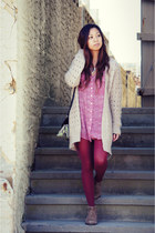 maroon knit H&ampM cardigan - light brown suede Steve Madden boots