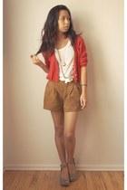 Forever 21 shorts - cropped Zara cardigan - polka dot Charlotte Russe t-shirt