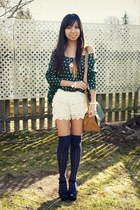 vintage bag - lace OASAP shorts - thigh highs Macys socks