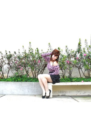 black shoes - bubble gum shirt - black skirt