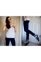 navy always skinny Gap jeans - gray suede oxford Gap shoes