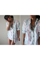 Vintage Buttoned Up Colorful Birds and Arrows Shir