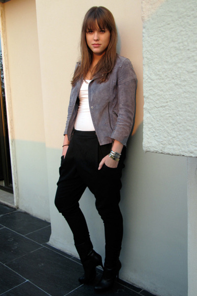 blue Topshop jacket - black Zara pants - white acne top