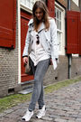 Gray-pieces-jeans-gray-river-island-coat
