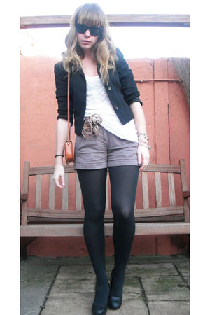 black vintage blazer - white H&M top - purple H&M shorts - brown Vintage bag acc