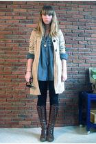 blue dads shirt - beige Vero Moda coat - brown vintage boots - black H&M legging