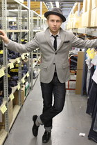 grand pas shoes - wool Club Monaco blazer - Club Monaco tie - khaki chinos Silve