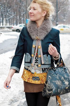maroon Moschino jacket - M Kors boots - Moschino scarf - Moschino blouse