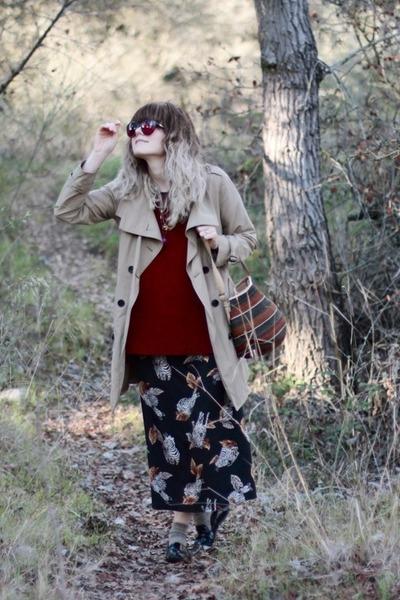 African bag - Aldo shoes - zebra print vintage dress - trench Gap jacket