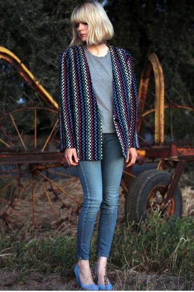 vintage jacket - denim pumps TenOverSix shoes - Levi jeans