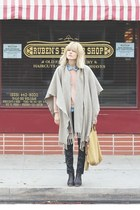 tan vintage cape - dark brown Rachel Comey boots - navy Anthro pants