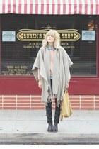 tan vintage cape - dark brown Rachel Comey boots - navy Anthro pants