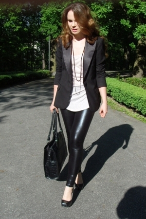H&amp;M blazer - leggings - Zara top - Chix shoes - accessories