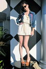 Blue-vintage-jacket-beige-vintage-dress-beige-jessica-simpson-shoes