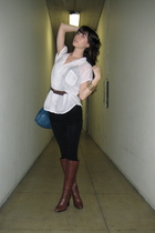 white from Thailand shirt - black American Apparel leggings - brown Fendi - blue
