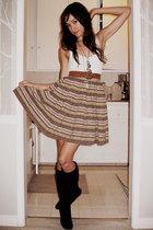 beige vintage top - brown vintage skirt - brown vintage belt - gold vintage neck