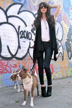 black Gap vest - black elzabeth & james boots - white vintage top