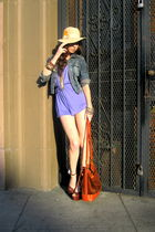 purple romper vintage shorts - brown Barneys Co op shoes