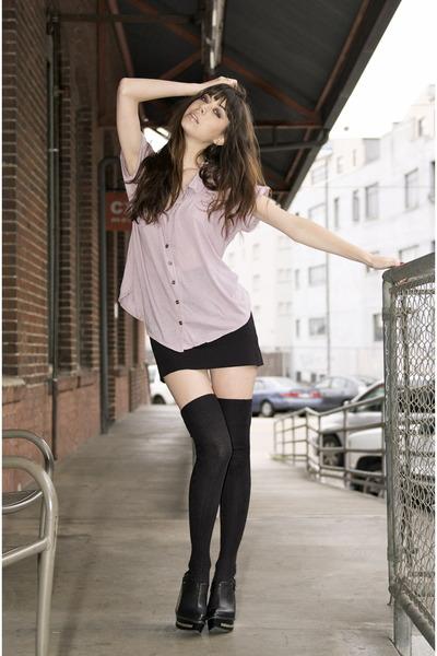 purple city of dolls shirt - black American Apparel skirt - black Target socks -