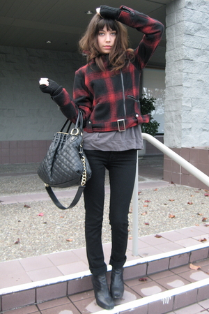 black sam edelman boots - black J Brand jeans - red American Rag jacket