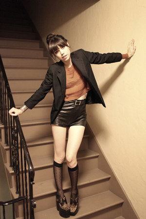 black Jeffrey Campbell shoes - burnt orange Lamb &amp; Flag sweater