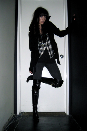 black H&M jacket - black Marc by Marc Jacobs boots - gray Forever 21 leggings