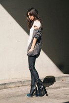 black Alexander Wang boots - heather gray Chaser sweater - white FOM shirt