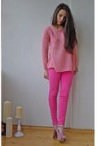 pink denim Zara jeans - pink knit Topshop sweater - VJ-style heels