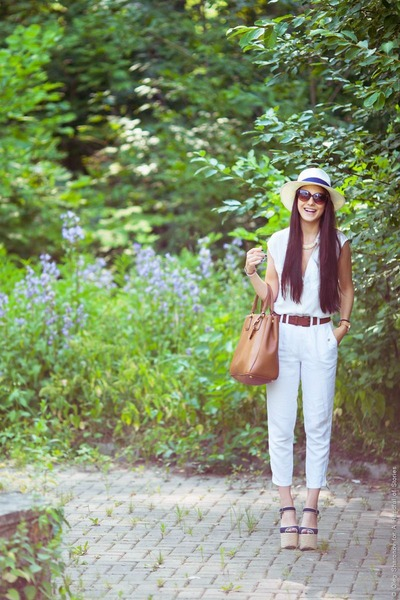 white H&M blouse - mustard Prada bag - brown River Island sunglasses