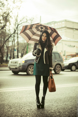 brown faux shearling Topshop jacket - black VJ-style boots - green Zara dress