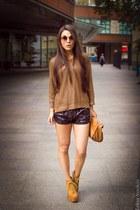 gold gold Zara sweater - bronze brown paper Zara bag