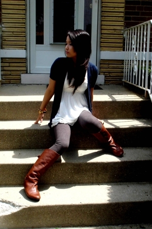 abercrombie and fitch sweater - Urban Outfitters dress - Ruehl leggings - Steve