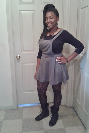combat Madden Girl boots - overalls Forever 21 skirt - Forever 21 bodysuit